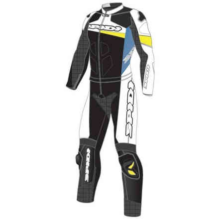 Tuta Pelle Race Warrior Touring Blu giallo Spidi