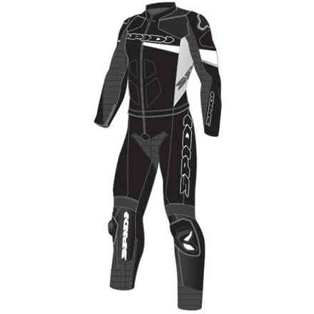 Tuta Pelle Race Warrior Touring Long Bianco Nero Spidi