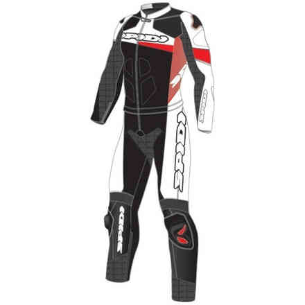 Tuta Pelle Race Warrior Touring Nero Rosso Spidi