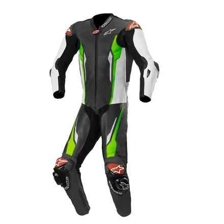 Tuta Pelle Racing Absolute 1 Pc Tech-Air Comp nero bianco verde fluo Alpinestars
