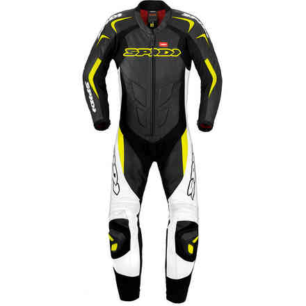 Tuta Pelle Supersport Wind Pro nero giallo fluo Spidi