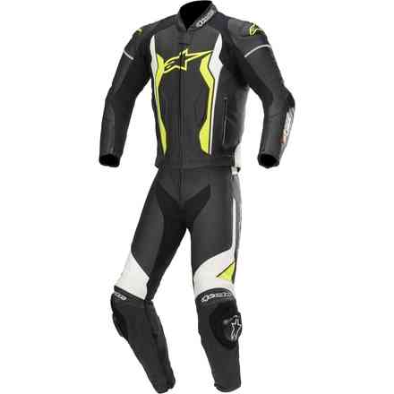 Tute Pelle Gp Forcepelle 2 Pc nero bianco giallo fluo Alpinestars