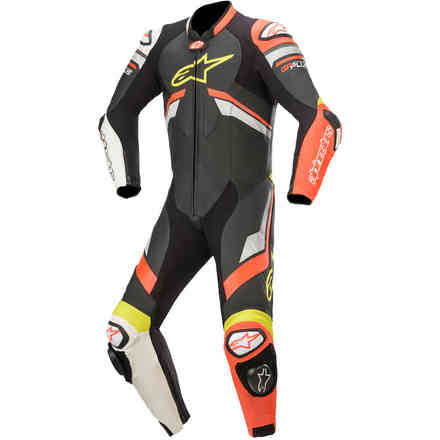 Tute Pelle Gp Plus V3 Leather Nero-Rosso-Giallo Alpinestars