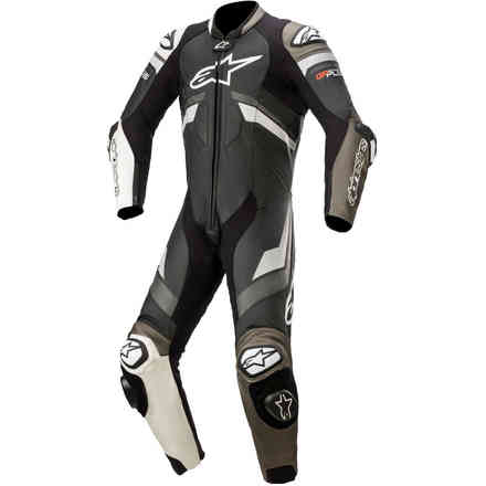 Tute Pelle Gp Plus V3 Leather Suit nero bianco metallico Alpinestars