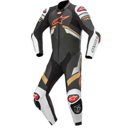 Tute Pelle Gp Plus V3 Leather Suit Nero bianco oro Alpinestars