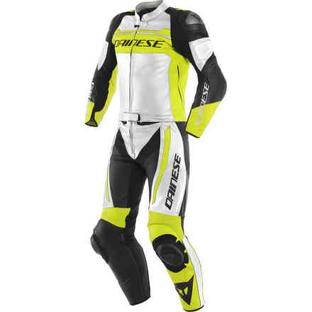 Tute Pelle Mistel 2pcs Leather Suit bianco giallo fluo nero Dainese