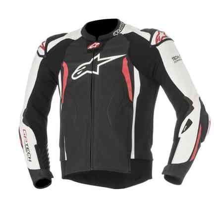 Veste en cuir Gp Tech V2 Tech Air noir blanc rouge Alpinestars