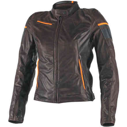 Veste en cuir Michelle  pour femme Brown-noir-orange Dainese