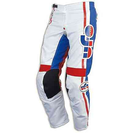 Vintage Cross Pants White Red Blue Ufo