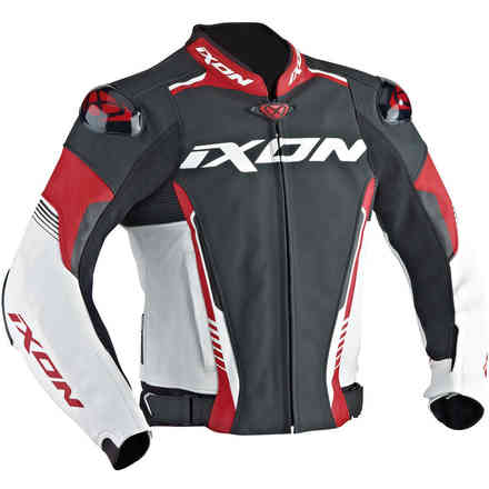Vortex leather Jacket black white red Ixon