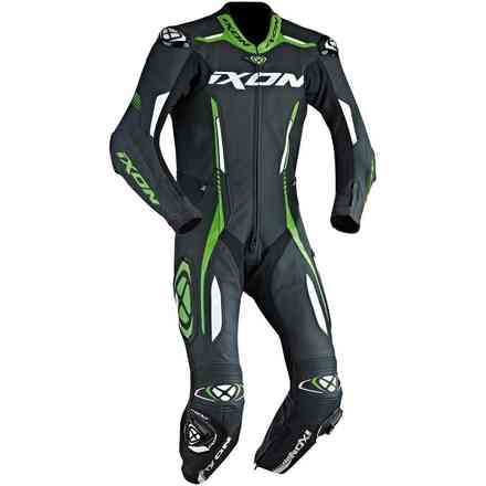 Vortex leather suit racing black white green Ixon