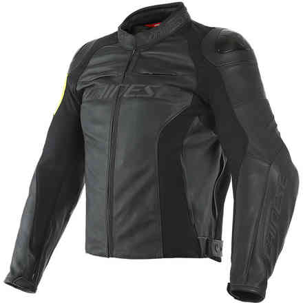 Vr46 Pole Position Leather Jacket Black/Yellow fluo Dainese