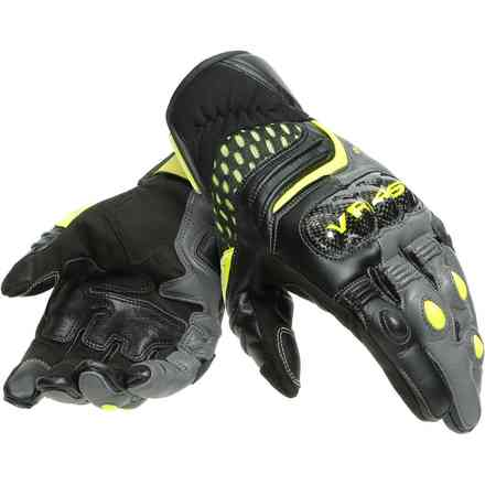 Vr46 Sector Short Gloves Black/anthracite/Yellow fluo Dainese