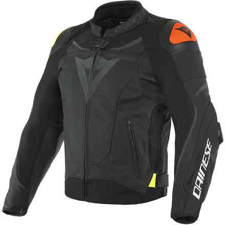 Vr46 Victory Leather Jacket Black/Yellow Fluo Dainese