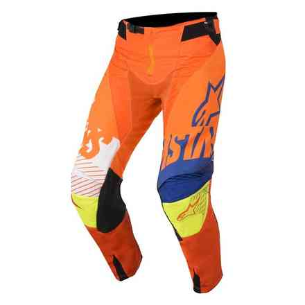 Youth Racer Screamer pants Orange fluo blue white yellow Alpinestars
